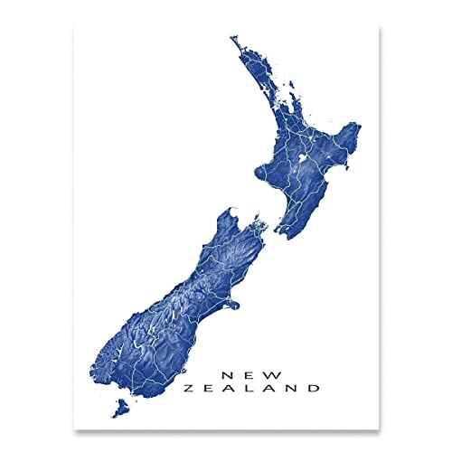 Map Of New Zealand Wellington.Amazon Com New Zealand Map Wall Art Print Wellington