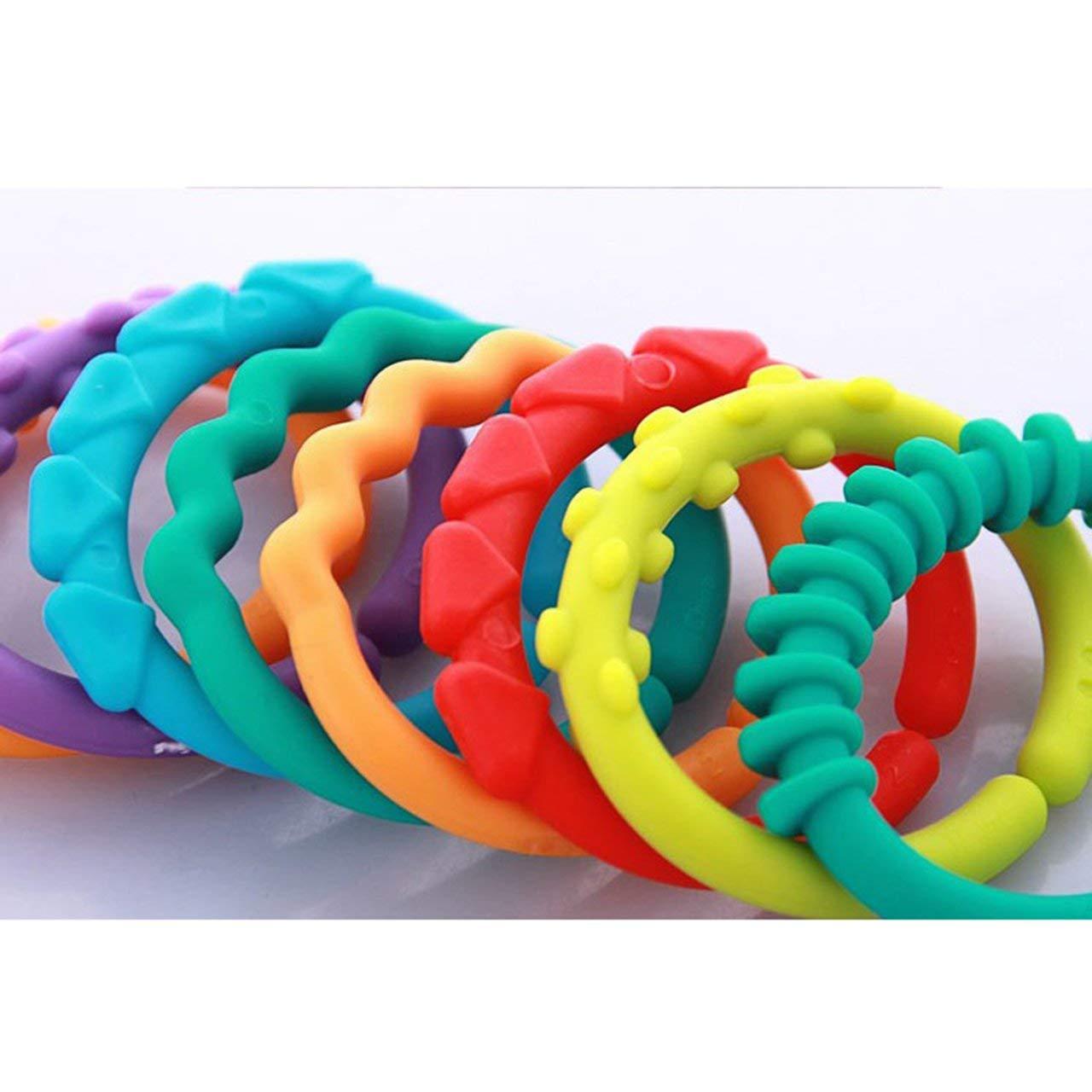 24pcs b/éb/é anneau de dentition molle anneau de cha/îne molaires de dentition darc-en-ciel de dentition de jouets de b/éb/é de BPA lib/èrent le jouet de d/éveloppement t/ôt de b/éb/é Multicolore
