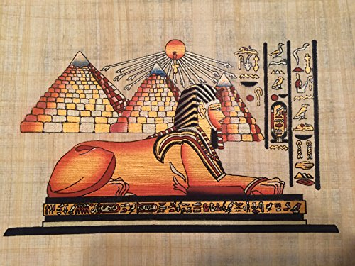 Hand Painted Natural Papyrus Painting Shows the Great Pyramids of Giza and the Sphinx. 8.5