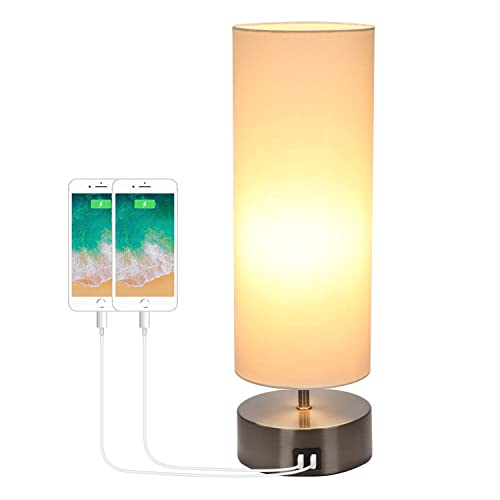 USB Bedside Touch Control Table Lamp 3 Way Dimmable 3 Color Modes Desk Lamp with 2 USB Charging Ports, Boncoo Modern Nightstand Lamp Ambient Light Round Shade for Bedroom Office 6W LED Bulb Included