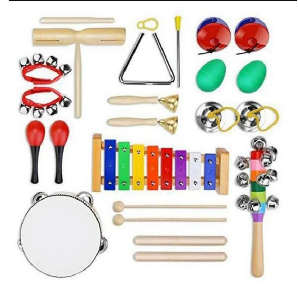 HKJCstore Children's musical instrument, wrist bell tambourine Eight-tone xylophone, baby song and dance early education instrument set by HKJCstore