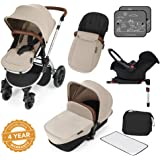 Ickle Bubba Stomp V3 All in One Travel System with Isofix Base, Sand on Silver Chassis