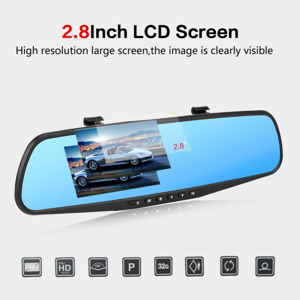 Keenso 2.8 Inch 1080P Ultra HD 120/° Wide Angle Car DVR Camera Rearview Mirror Dash Cam Video Recorder Camcorder Motion Detection//G-Sensor//Loop Recording 32G