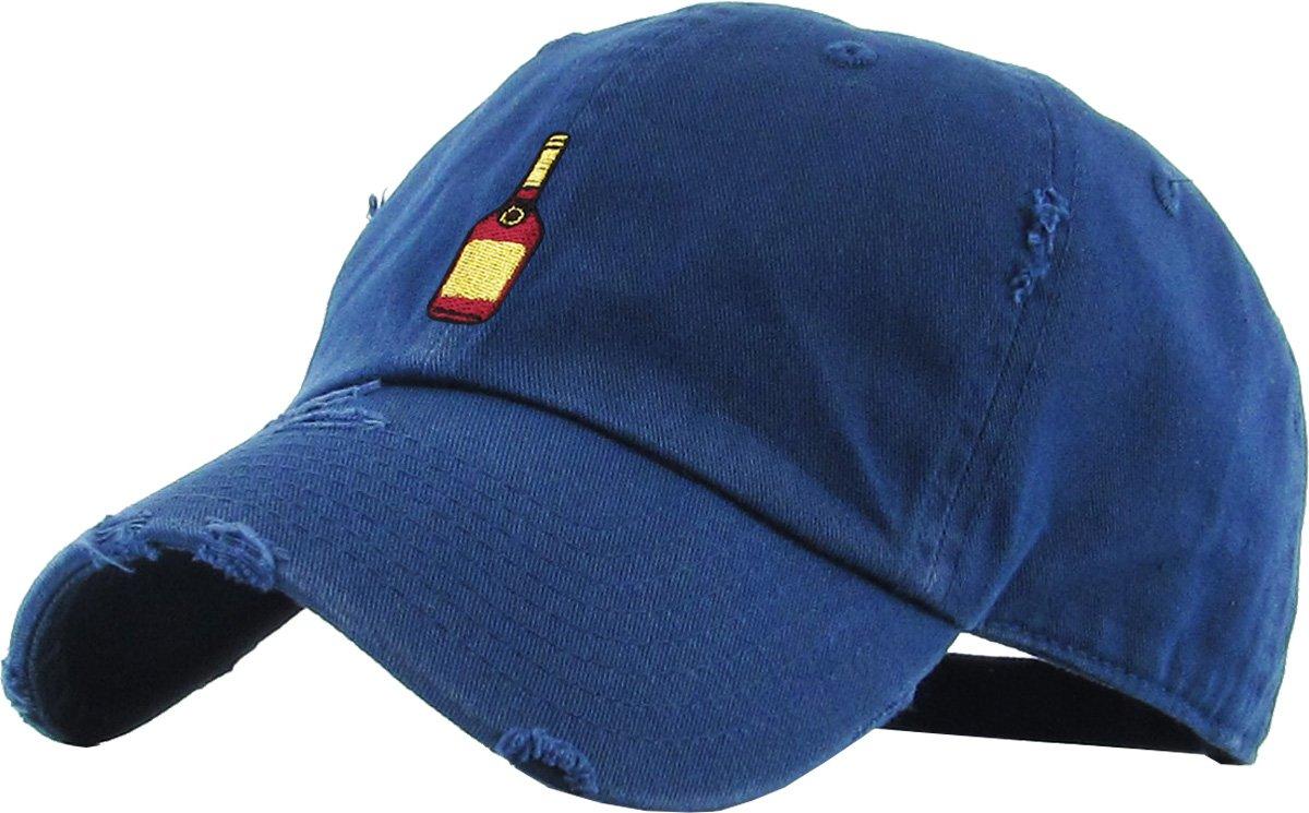 KBSV-047 Nav Henny Bottle Vintage Distressed Dad Hat Baseball Cap Polo Style Adjustable