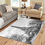InterestPrint Home Decoration Fantasy Eiffel Tower Area Rug 7′ x 5′ – Paris White Black Carpet Rugs for Home Living Dining Room