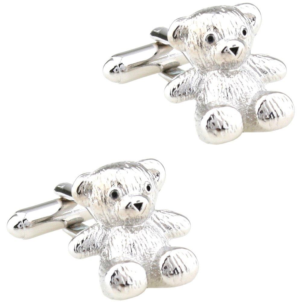 CIFIDET Gemelos Mancuernas de oso de plata de moda camisa de hombre joyería con caja de regalo: Amazon.es: Joyería