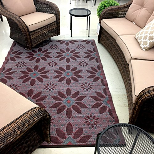 2 Pk 5'x7' Reversible indoor Outdoor Rugs Rv camping picnic