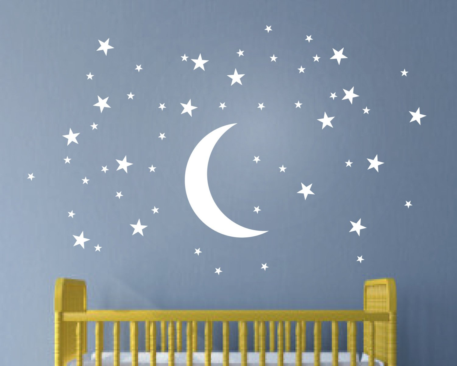 Melissalove 50 Stars and Moon Wall Stickers for Kids Room Creative White Stars Baby Wall Decals Nursery Wall Art Decor Mural Wallpaper D857 (White)