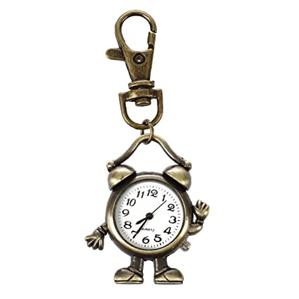 Retro Bronze Metal Clock Robot Keyring Chain With Clock 1.8 New Watches