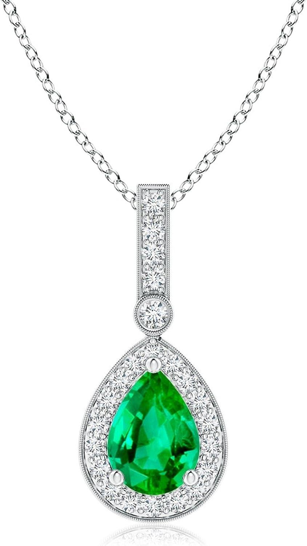 Colgante de gota de esmeralda de estilo vintage con halo de diamante (7 x 5 mm esmeralda)