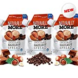 Naturally More Chocolate Hazelnut Spread - 100% All Natural A Sweet Decadent Chocolate Butter + Probiotics - Flax - Vegan - Dairy Free - Gluten Free - Peanut Free - Travel Size Snack Packets (3 Packs)