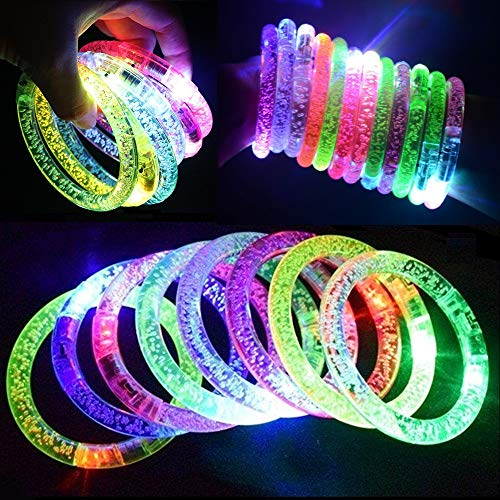M.best 12Pcs and 12 Spare Batteries Multicolor Fluorescence Stick LED Flashing Bracelet Light Up Acrylic Bangle for Glow Party Favors Supplies -