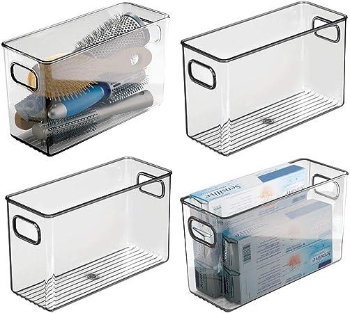 prodotti bagno e molto altro mDesign Set da 2 contenitori per il bagno trasparente Organizer per il bagno di plastica per asciugamani Pratico cesto per il bagno con manici