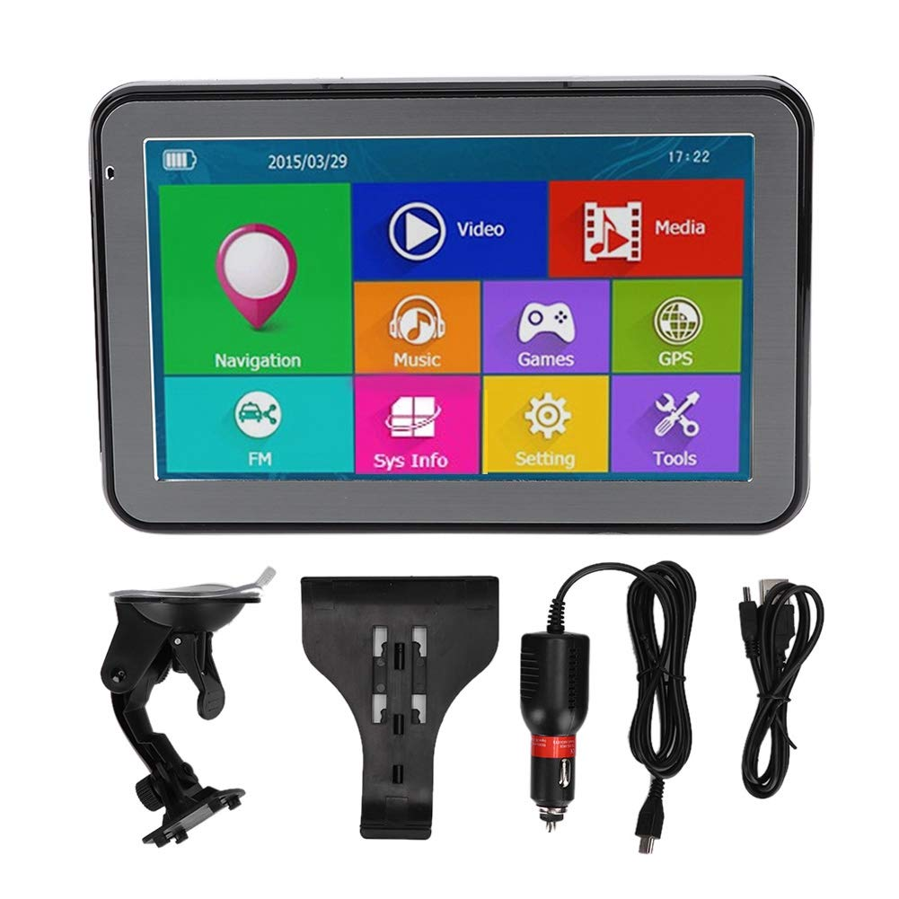 5- inch Touch Screen HD 240x480 Pixels 256MB RAM 8G ROM Portable 7 Modes : Black Car FM GPS Navigation Radio Player with Built-in World Map by Qii lu