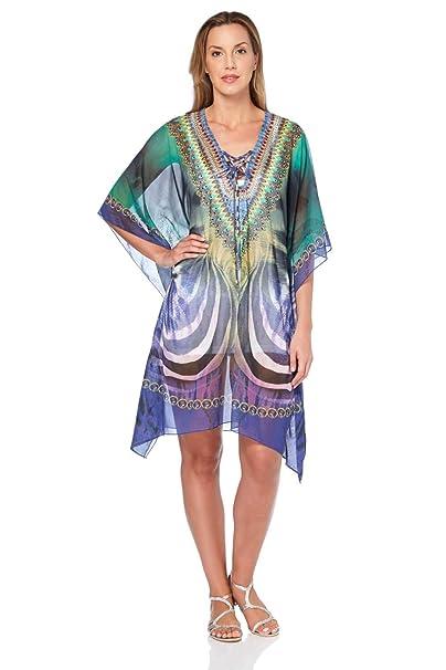 ac19a770c3b Roman Originals Womens Tropical Print Diamante Sparkle Kaftan - Ladies Kaftans  Tunics for Beach Festival Summer