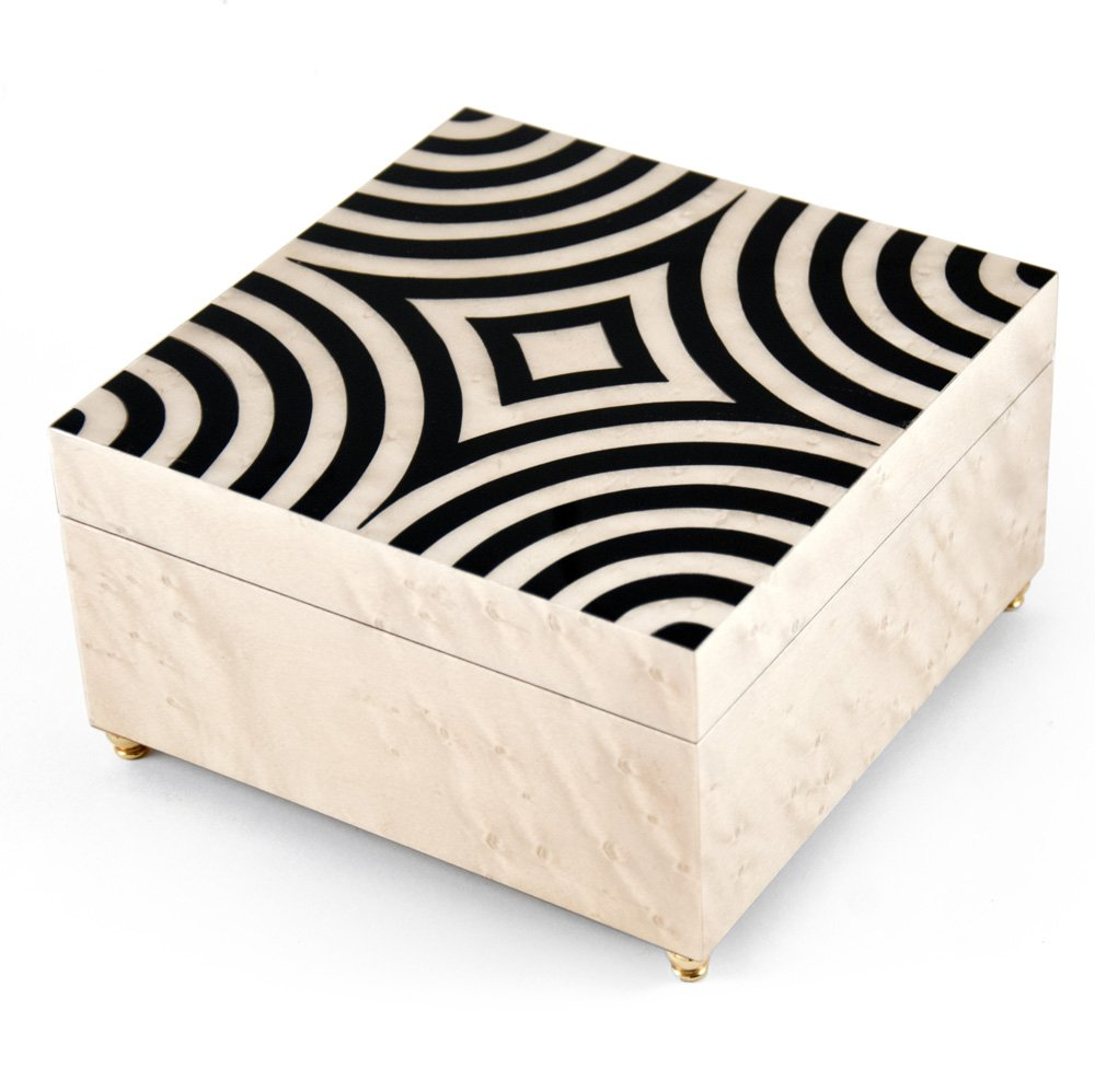 Sophisticated 18 Note Ivory with Black Lacquer accents Modern Sorrento Music Jewelry Box - There is No Business Like Show Business