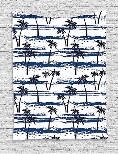 Blue Tropic Monogram - Supersoft Fleece Throw Blanket Home Pattern with Sea and Palm Trees Summer Romantic Beach Island Silhouette Tropics Theme Navy Blue