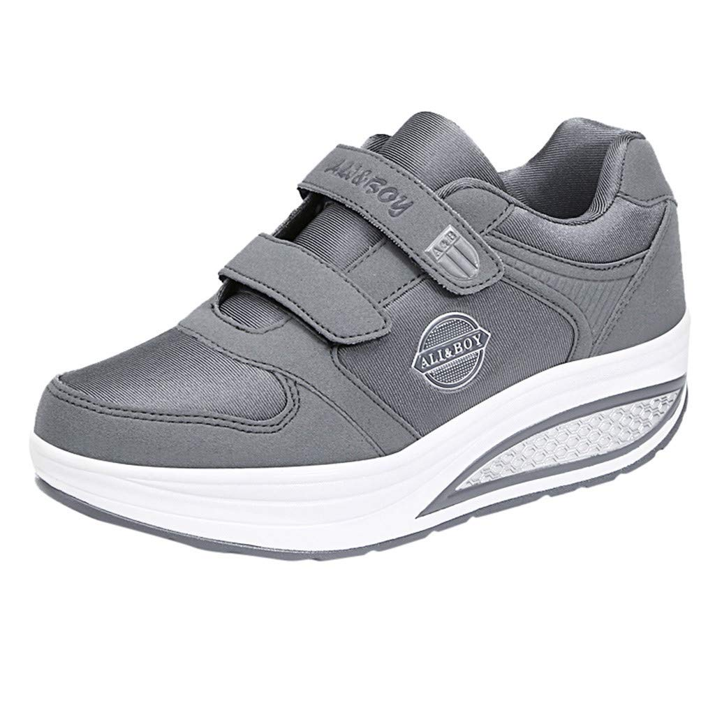 Yiwanjia ◕ˇ∀ˇ◕ Women's Thick Slip-On Casual Walking Wedges Shoes Breathable Work Shake Sneakers (US:8,Gray) by Yiwanjia-Shoes