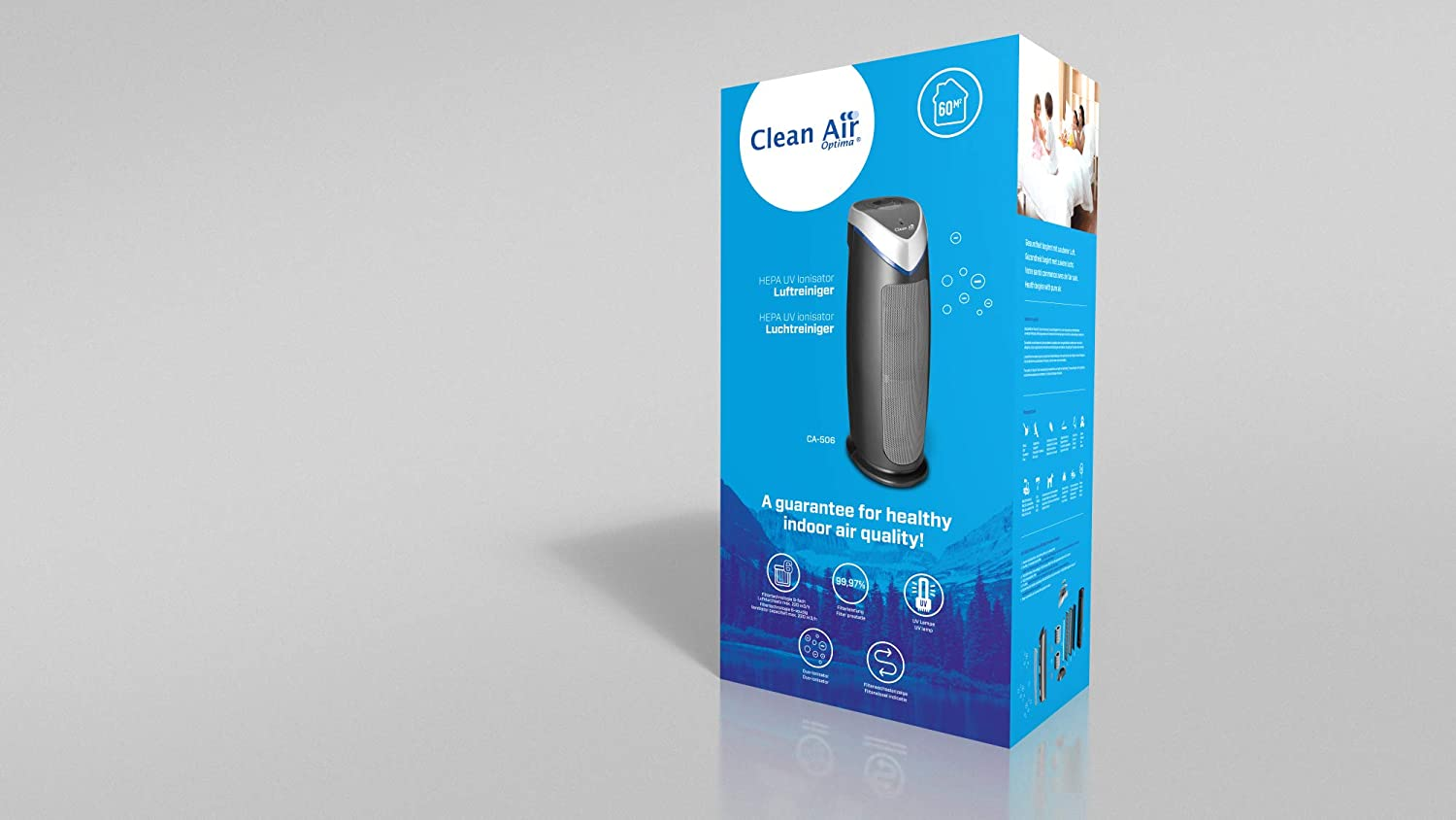 Active Carbon TiO2 Ioniser 150 m/³ Clean Air Optima CA-506 UV HEPA Air Purifier up to 60 m/² 6-Stage Ozone-Free Filtration Technology