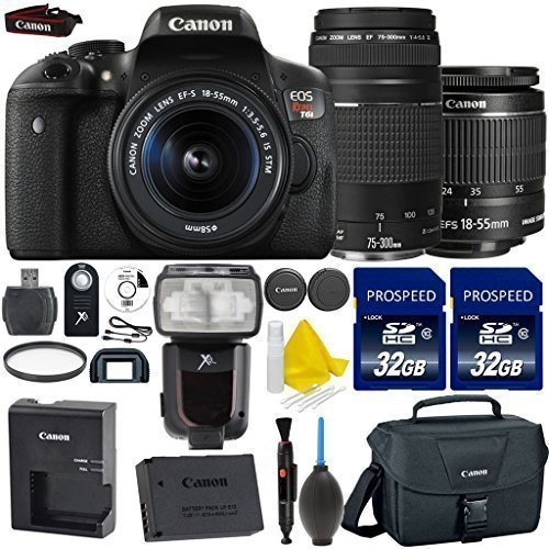 - Canon EOS Rebel T6i 24.2MP WiFi Enabled Digital SLR Camera + Canon EF-S 18-55mm IS STM + Canon 75-300mm III Lens + Dedicated TTL Flash + 2pc High Speed 32GB Memory Cards + 9pc Accessory Kit