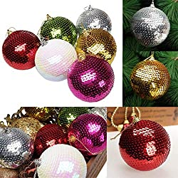 Sequin Glitter Christmas Baubles Balls