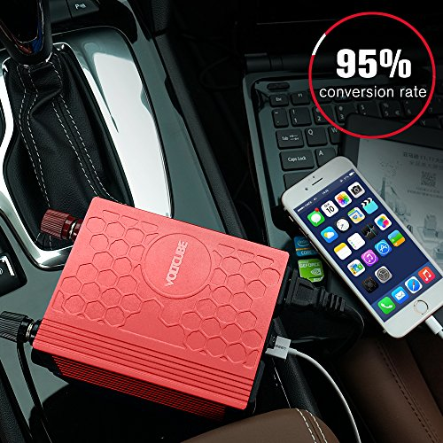 VOLTCUBE 400W Power Inverter, 12V DC to 110V AC Car Adapter with Twin 2.4A USB Ports and Two Independent AC Outlets (Red) by VOLTCUBE (Image #2)