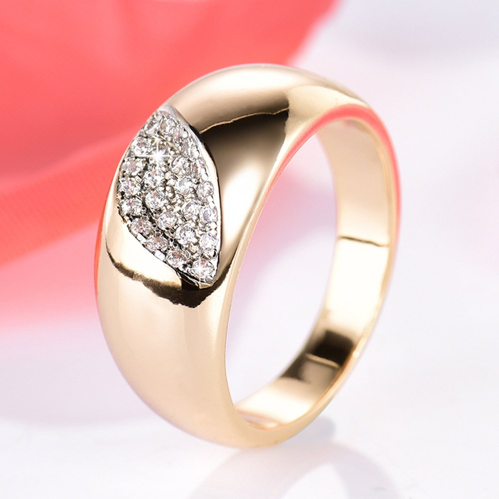 F/&T JEWEL Eye Shape Rings Gold-Color Zircon Ring For Women Party Wedding Engagement Rings