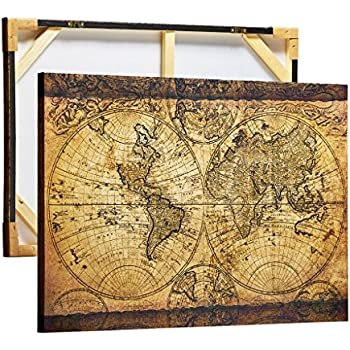Amazon wooden framed old world map print painting retro artkisser vintage old world map wood framed stretched canvas artwork retro print painting 24x36 sciox Gallery