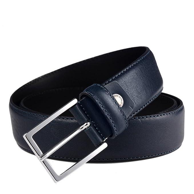 Amazon.com: Mens vestido de piel italiana cinturón azul ...
