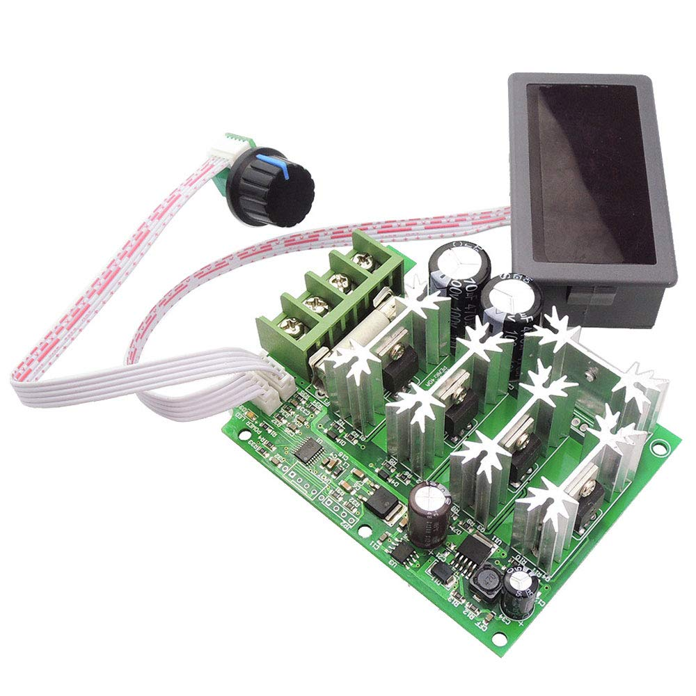 uniquegoods 12-80V PWM 30A DC Motor Speed Controller Governor with Digital Display Panel Button Switch Slow Star Slow Stop Variable Stepless Speed Control Regulator HHO Driver Module