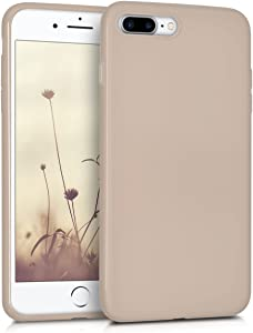 kwmobile TPU Silicone Case Compatible with Apple iPhone 7 Plus / 8 Plus - Soft Flexible Protective Phone Cover - Beige Matte