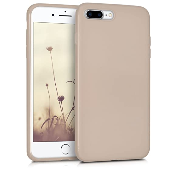 buy popular bb1d3 f9e66 kwmobile TPU Silicone Case for Apple iPhone 7 Plus / 8 Plus - Soft Flexible  Shock Absorbent Protective Phone Cover - Beige Matte