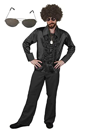 8db5ae41f0c MENS 70S DISCO FANCY DRESS COSTUME NIGHT FEVER COSTUME - BROWN AFRO ...