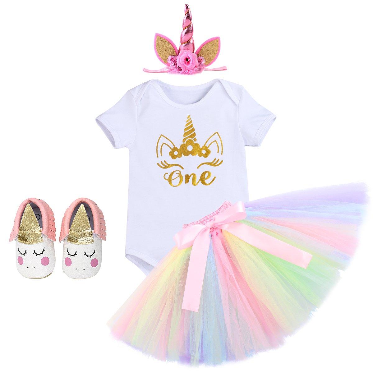 OBEEII Baby Girl 4PCS Birthday Outfit Romper Rainbow Tutu Skirt Shoes Unicorn Headband