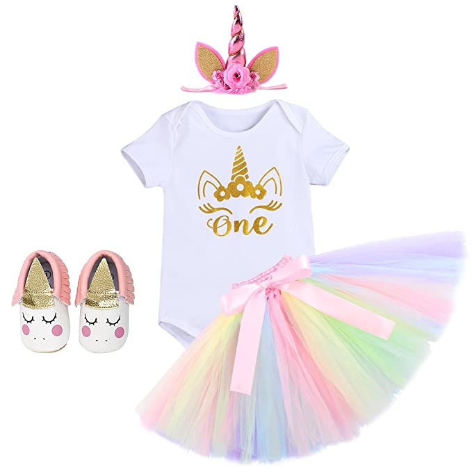 00f195c683de Baby First Birthday Outfit - Bodysuit, Skirt, Cartoon Headband Shoes Newborn  Infant Toddler Princess