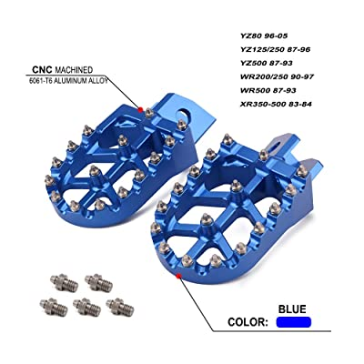 Billet MX Wide Foot Pegs Pedals Rests - For Honda XR350-500 83-84 Yamaha YZ80 YZ125 YZ250 YZ500 WR200 WR250 WR500 87-05: Automotive