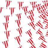 RUBFAC 170ft 120pcs Red and White Striped Pennant Banner Flags String Triangle Bunting Flags, Party Decorations Supplies for Carnival Circus, Birthday, Festival Celebration