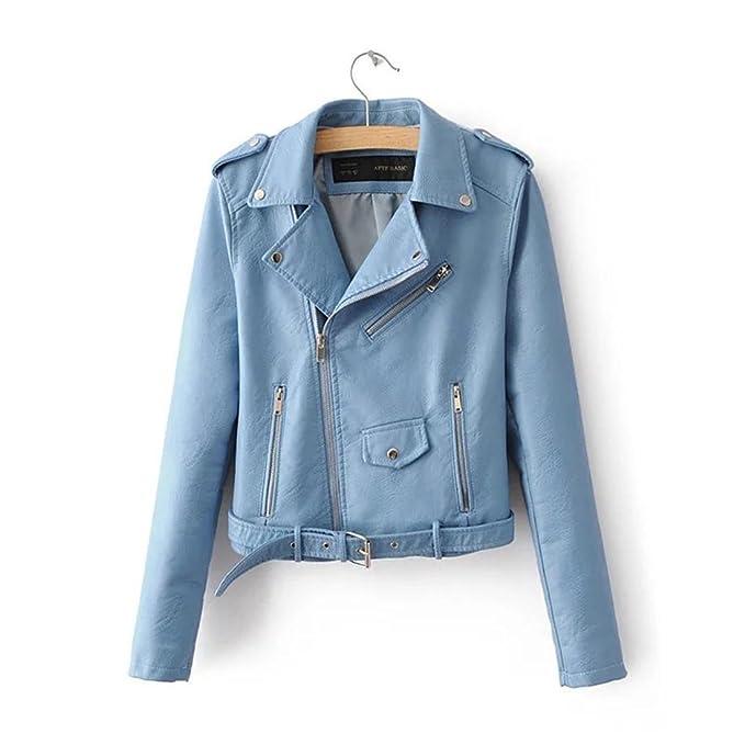 Corto las mujeres PU chaqueta de moto de cuero, blue, l: Amazon.es: Ropa y accesorios