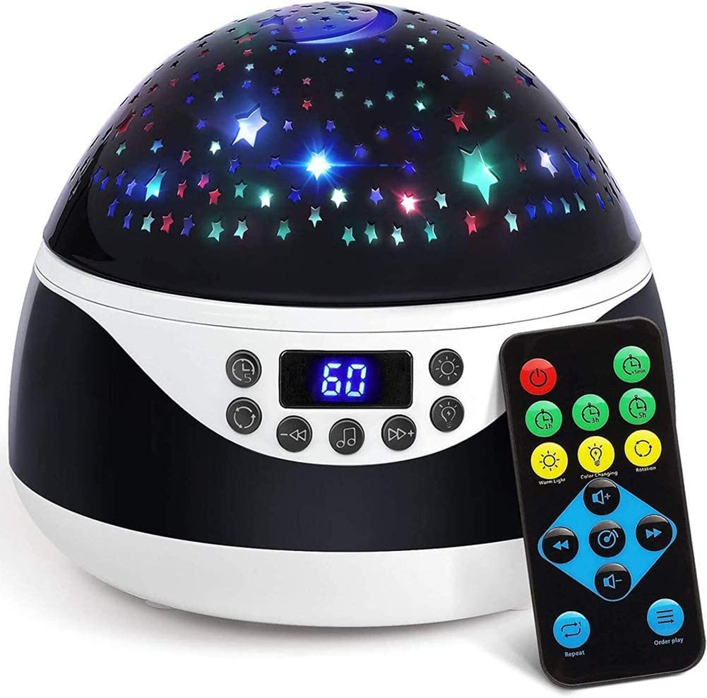 Sleep Helper and Gift Choice for Babies Girls Boys Stars Night Light Projector with Timer /& Music Remote Control Projection Lamp for Kids Black Rotating Kids Night Lights for Bedroom