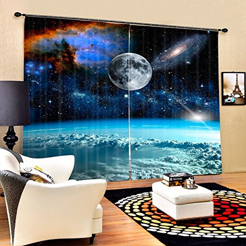 Wapel Outer Space Clouds Luxury Galaxy 3D Blackout Wndow Curtains For Living Room Kids Boys Bedding Room Drapes Cotinas Para Sala 240X320CM