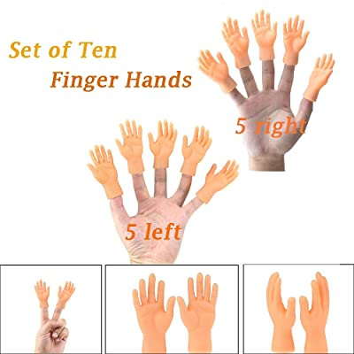 Bsjmlxg Daily Portable Tiny Hands, 5 Pack Tiny Hand Finger Puppets, Little Finger Props, High Five Mini Hand Puppet, Mini Prank Hand & Gag Gifts for Adults: Toys & Games