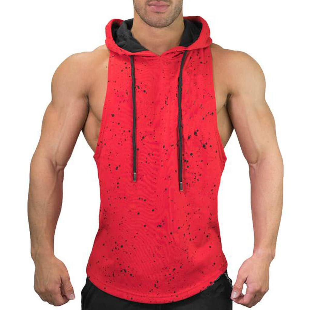 Men T— Shirt Undershirts Snowflake Sports Vest Bodybuilding Tanks Tops Sleeveless Jersey with Hooded (L, Red)