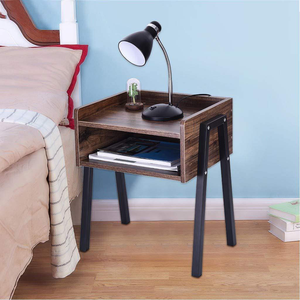 Beyonds Rustic Bedside Table, Wooded End Table Bedside Cabinet, Home Storage Unit, Nightstand Pedestal Desk for Bedroom Wood Grain Color by Beyonds