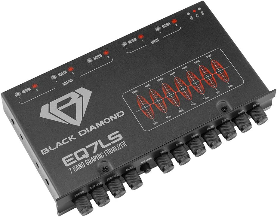 Black Diamond EQ7LS 7 1/2 DIN 7-Band Pre Amp Equalizer Car Audio EQ w/Front Rear + Sub Output