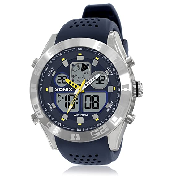 Hombre Relojes electrónicos,Led 100m resistente al agua Luminoso Pantalla doble 24 horas Calendario Serie de carreras Multifunción Retro Chico-B: Amazon.es: ...