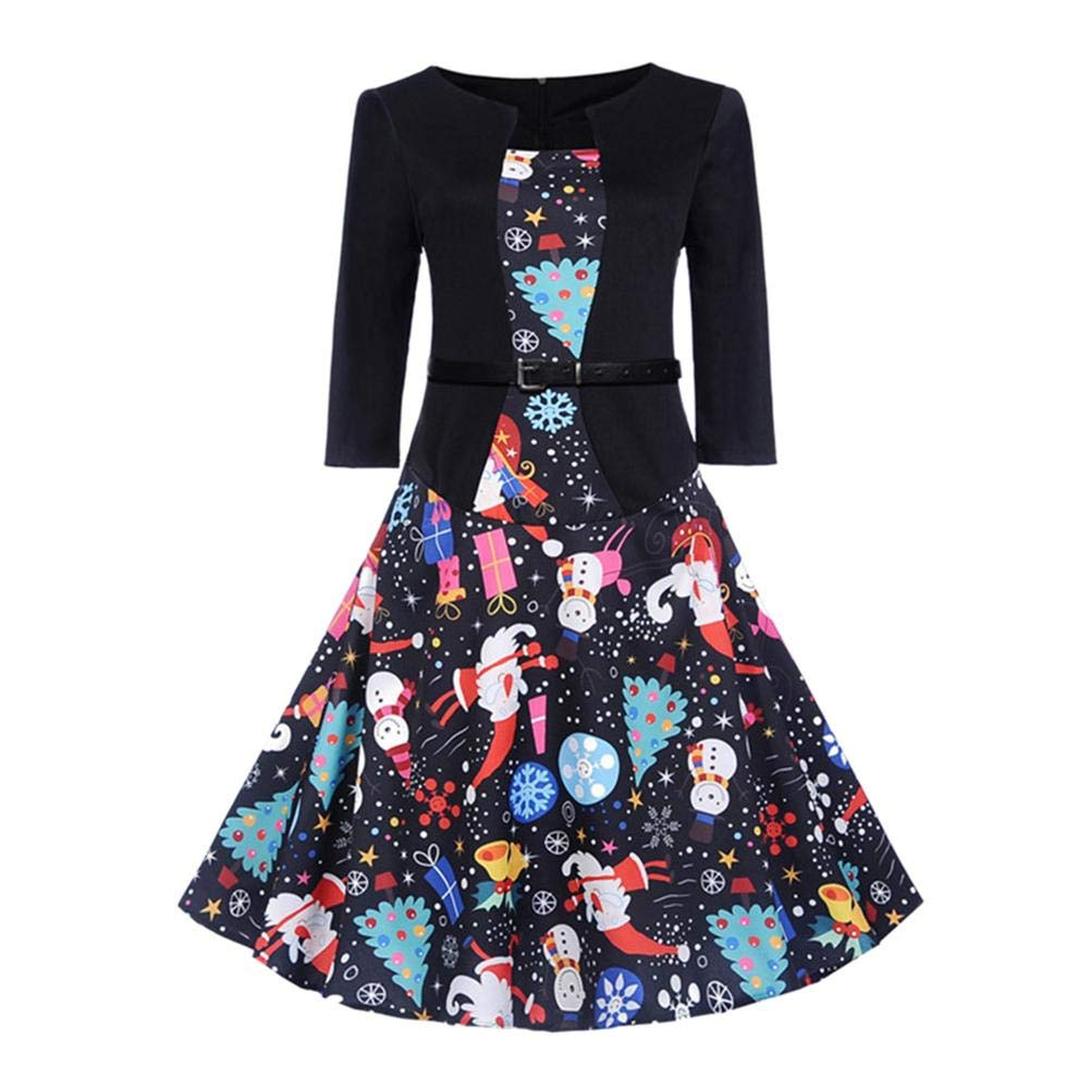 Missbee Women Christmas Festival Prints Dress Middle Sleeve Big Flare Vintage Party Dress O-Neck Bandage Dress
