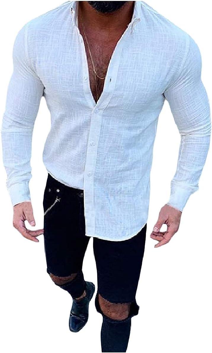 VividYouMen Pure Colour Lapel Button Long Sleeve Oversized Linen Tops Shirt