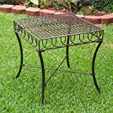 International Caravan Sun Ray Iron Side Table Brown