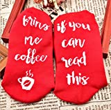 IF YOU CAN READ THIS Wine Socks, Novelty Funny Christmas Gift Talking Socks Letter Print Casual Ankle Socks for Women Men, Perfect for Wine Lovers, Birthdays, White Elephant, Mother or Father Gift, Husband, Wife or Friend Wine Socks