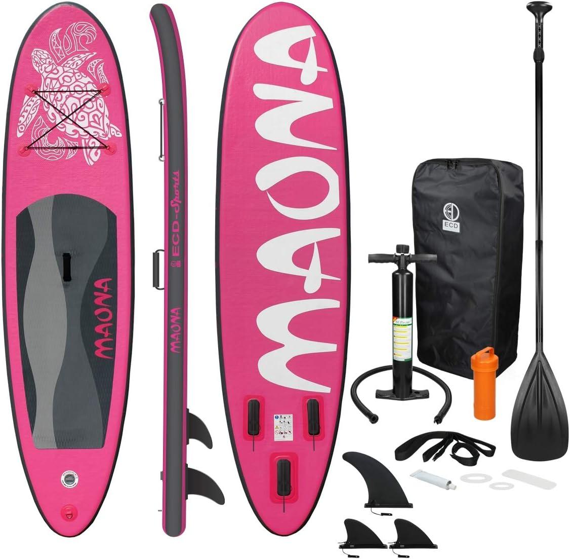 ECD Germany Tabla Hinchable Maona Paddle Surf/Sup 308 x 76 x 10 cm Rosa Stand up Paddle Board PVC hasta 120kg 3 Aletas deslizantes Diferentes Modelos Incl Paleta Aluminio Bomba y Accesorios